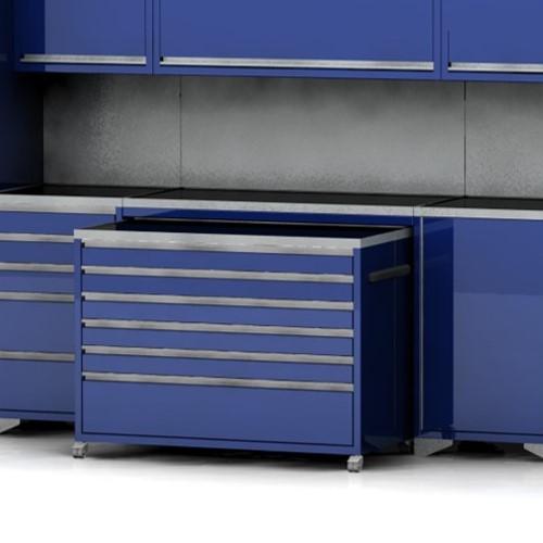 Garage furniture under bench cabinets
