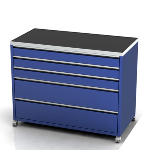 Garage furniture tool trolley 1200 wide 5 drawer castors