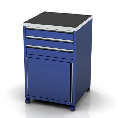600mm Wide Base Unit 3 drawers and door on castors